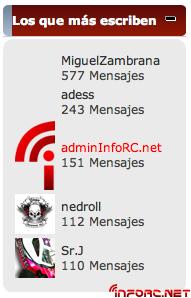 Los mas posteadores de infoRC.net