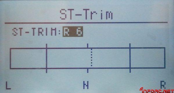 Detalle de una barra de recorrido 150%, donde tenemos los topes del servo al 100%, y el trim un poco desviado