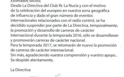 El Club RC La Nucía se despide de las carreras internacionales hasta 2017