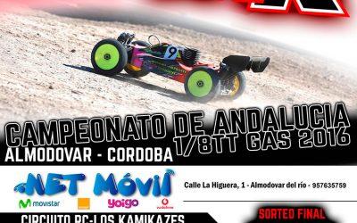 Este fin de semana - Segunda prueba del Campeonato de Andalucía 1/8 TT Gas 2016 en Almodovar del Río