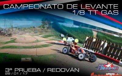29 de Enero - 3ª prueba Camp. Levante 1/8 TT Gas en Redovan. ¡Hoy cierran las inscripciones!